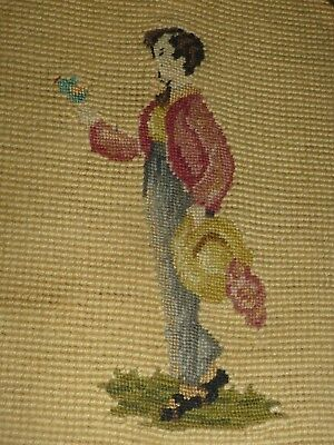 Antique Cross Stitch Embroidery Dickens Era 1850's Approx Gentleman