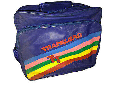 358c9d919c60a3 Trafalgar Vintage 80's Tours Nylon Rainbow Messenger Travel Carry On Blue  Bag