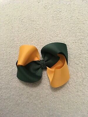 Madelienas Twister Bow Hair Clip 1x ..   Yellow Gold And Bottle Green