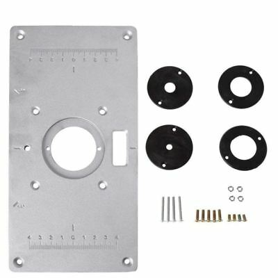 Aluminum Router Table Insert Plate w/4 Rings Screws for Woodworking Benches C5O1
