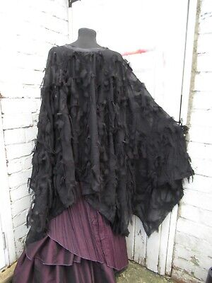 Medieval cape Black faux feathers LARP Steampunk Goth wedding Victorian cloak