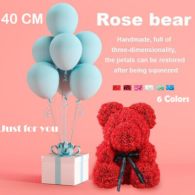 40cm Rose Teddy Bear /w Heart Flower Gift For Mother's Day Birthday Wedding Box