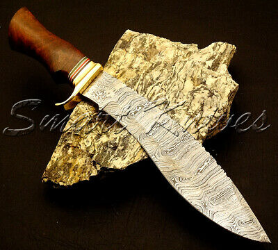 Smart Knives Hand Made Damascus Steel Hunting Kukri Bowie Knife Handle Rose Wood
