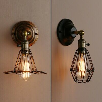 Metal Wall Lamp Vintage Industrial Bird Cage Bar Wall Light Antique Brass Sconce