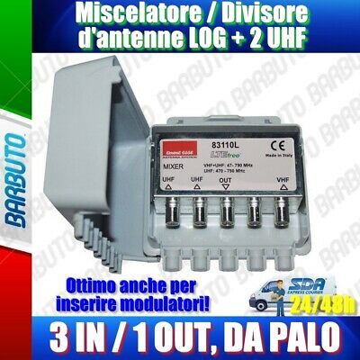 Miscelatore/Accoppiatore d'antenne VHF + 2 UHF 3IN/1OUT da palo, Emmeesse 83110L
