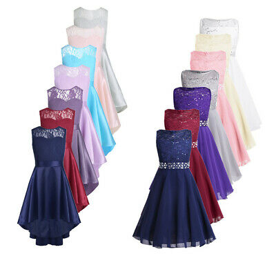 Kid Lace Princess Dress Flower Girl Wedding Bridesmaid Pageant Formal Gown Dress