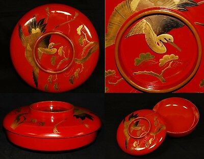 Antique Japanese Lacquer Ware Wooden Bowl Makie Taisho Period Crane & Pine tree