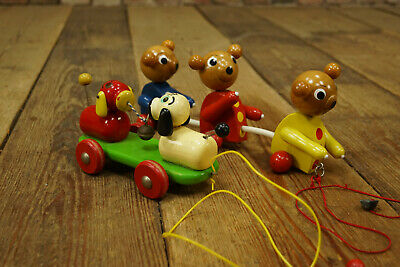 1960s 2 x Pull Pull-Along Vintage Wooden Toy Dog & Bear Wood 1950s