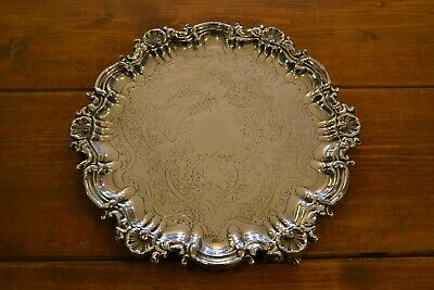 "Silver Plated Footed Salver Tray / William Briggs / c. 1840 / 10"" Dia"