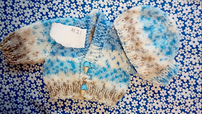 Hand made Premature Boy 10inch 3-4lb cardigans and hat sets