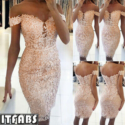 Women Bridesmaid Ball Prom Gown Formal Evening Party Cocktail Lace Dresses UK