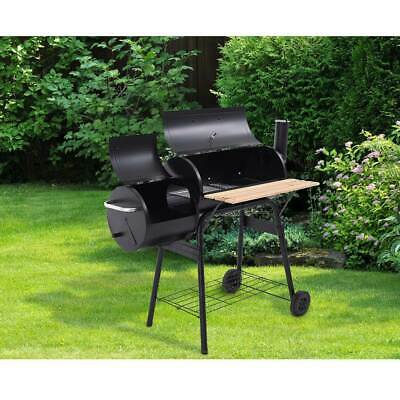Panana Charcoal BBQ Grill Garden Barbecue Smoker Cooking Double Barrels Trolley