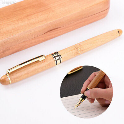 4EEF Student Business Wooden Ink Pen Wood Fountain Pen Smooth School Supplies