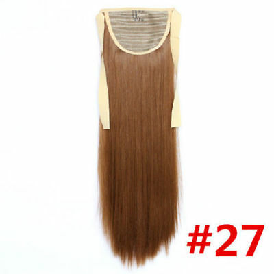 """1PC 27# 24"""" Long Straight Ribbon Ponytail Clip In Synthetic Hair Extensions"""