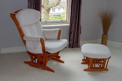 Dutailier Gliding And Reclining Nursery  Chair And Stool With Blanket