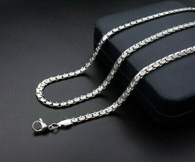 4.8mm 316L Stainless Steel Silver Color Necklace Chain 50-60cm Length For Men