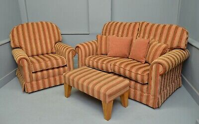 Two Seater Sofa With Matching Armchair & Footstool-Two Piece Suite