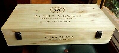 LIKE NEW 6 WINE BOTTLE WOODEN BOX- ALPHA CRUCIS McLAREN VALE - I WILL POST