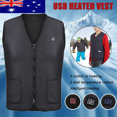 Electric Vest Heated Cloth Jacket USB Thermal Warm Heat Pad Winter Warmer Vest