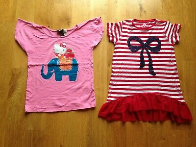 Girls H&M Pink Hello Kitty and TU Red White Stripe Sequin Top age 6-7 years