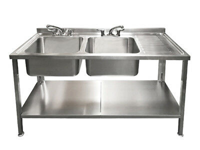 Commercial Stainless Steel Sink Double Bowl Right Drainer 1500mm 1.5m 150cm