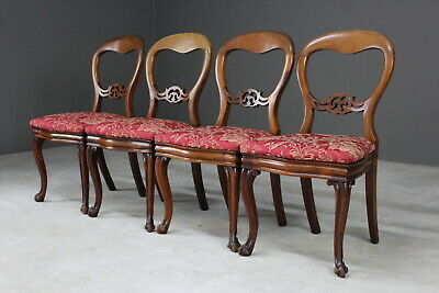 Set 4 Victorian Style Balloon Back Dining Chairs