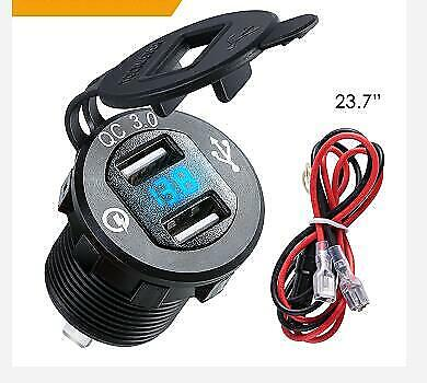 12V/24 Dual USB Car Cigarette Lighter Socket Plug QC 3.0 Charger LED Voltmeter