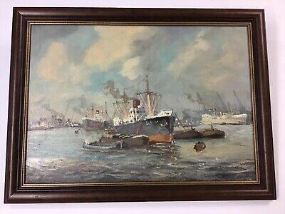Mid-Century Impressionist Industrial Harbor Scene Oil Painting Headermann