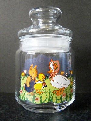 VINTAGE APOTHECARY STYLE GLASS EASTER LOLLY JAR with CUTE BUNNY & DUCKS