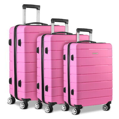 Wanderlite 3PC Polypropylene Luggage Set Suitcase PP Trolley TSA Travel Hard