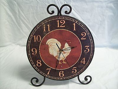 Antique Style Round Rooster Shelf / Mantle Quartz Clock with Wrought Iron Frame