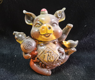 Precious Chinese Coloured Glaze Hand-Carved Pig Animal Statue Snuff Bottle Old