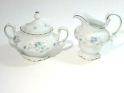 Vintage Johann Haviland Bavaria GERMANY Blue Garland Covered Sugar & Creamer
