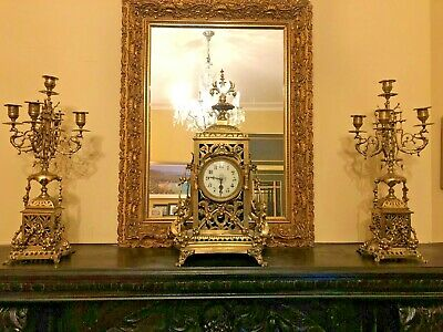 Magnificent Victorian French Brass Mantle Clock with Candelabra Garnitures