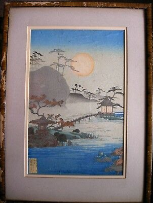 1890 Fine Old Japanese Woodblock Print by Nobuchi Moonlight Night In The Garden