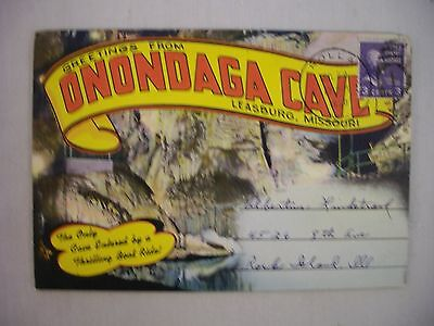 Vintage Fold-Out Postcard Booklet Onondaga Cave Leasburg Missouri 18 Views 1950
