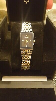 STUNNING Womens New Diamond-Accented Two Tone Stainless Steel Bulova Watch