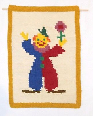 Clown Wall Hanging Wool Handwoven Fiber Art Circus Decor Yellow Blue Red Ivory