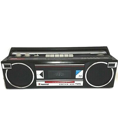 National Radio Cassette tape player Boombox RZ-FM15 Black Vintage Works