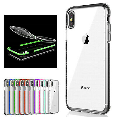 Shockproof Clear Slim Bumper TPU Rubber Plating Case Fr iPhone 6/7/8 Plus XS Max