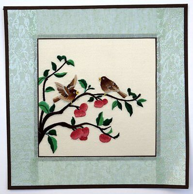 "Chinese Suzhou embroidery painting birds flowers 12x12"" hand-made oriental art"