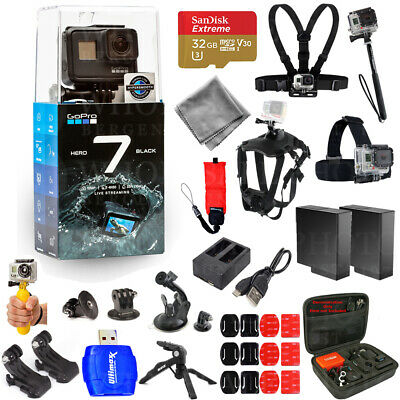 GoPro HERO7 Action Camera (Black) with Extra Batteries 32GB Accessory Bundle