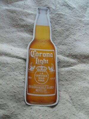 "Corona Light Beer Bottle Cerveza 19"" Metal Tin Embossed Advertising Wall Sign"