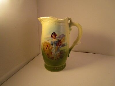 Vintage Made in Czechoslovakia Creamer Pitcher Jug Lady Picking Flowers