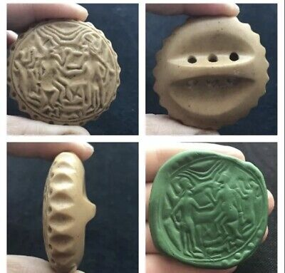 Very Ancient Old Bactrian Hard Stone Round Intaglio Stamp Bead