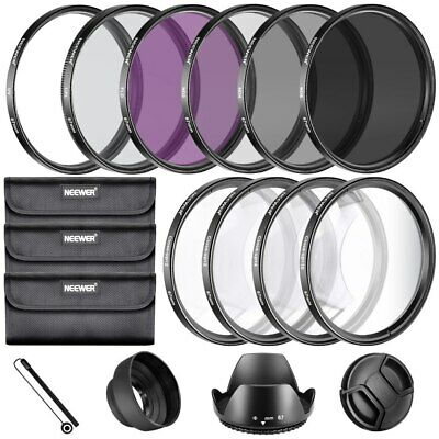 Neewer 67MM Lens Filter Kit UV CPL FLD Macro Close Up +1 +2 +4 +10 ND2 ND4 ND8