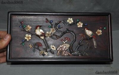 Old Chinese Rosewood wood Inlay shell Turquoise coral lapis lazuli Jewelry Box