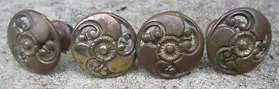Lot of 4 Antique Furniture Hardware Knob Style Drawer Handle Pulls Brass, Floral