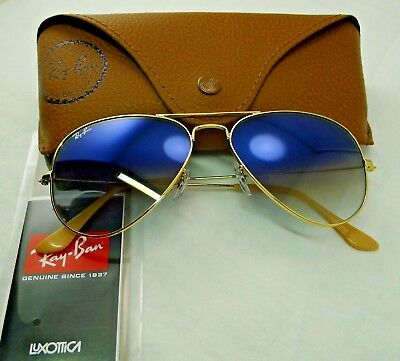 ecd1309c269a2 New Ray-Ban Rb3025 001 3F Gold Frame Light Blue Gradient Aviator Sunglasses  58Mm