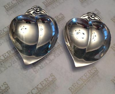 Pair Vintage Tiffany & Co sterling silver Apple Heart Nut Dishes Leaf Handles